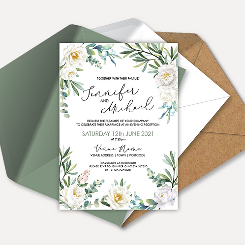 White Rose Evening Invitation