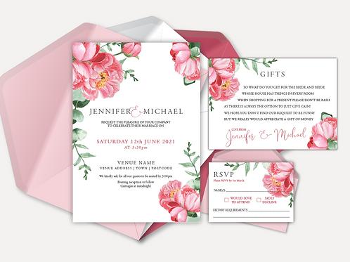 Pink Peony Day Invitation, RSVP & Info Card