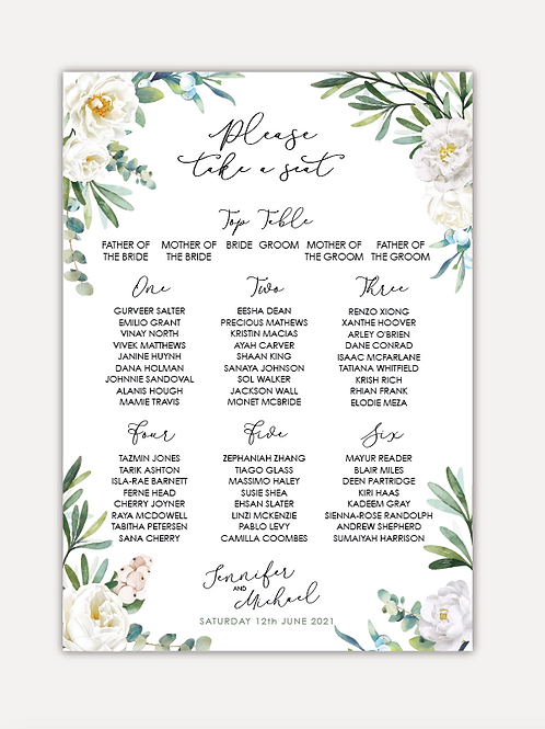White Rose Table Plan