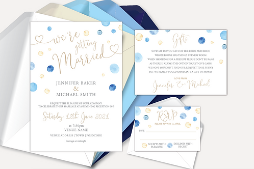 Watercolour Confetti Evening Invitation, RSVP & Information Card