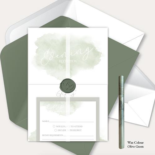 Watercolour Evening Invitation, RSVP, Info Card, Full Vellum Wrap & Wax Seal