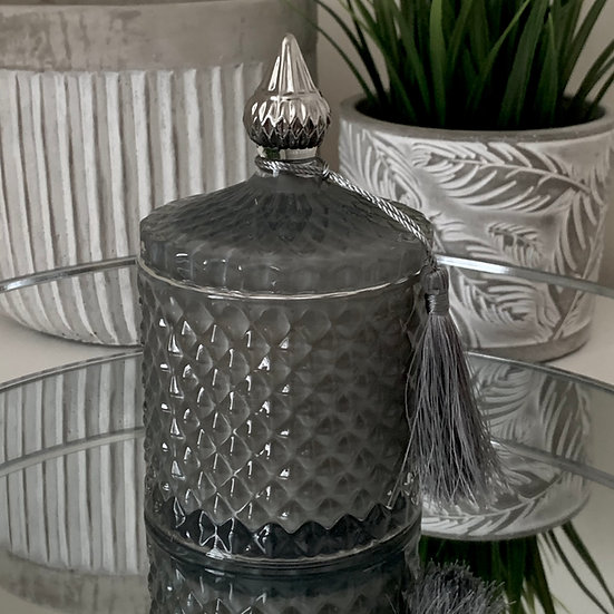 Grey Diamond Candle Jar Large