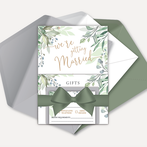 Sage Leaves Day Invitation, RSVP, Info Card with Ribbon