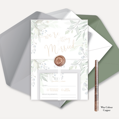 Sage Leaves Day Invitation, RSVP, Info Card with Vellum Wrap & Wax Seal