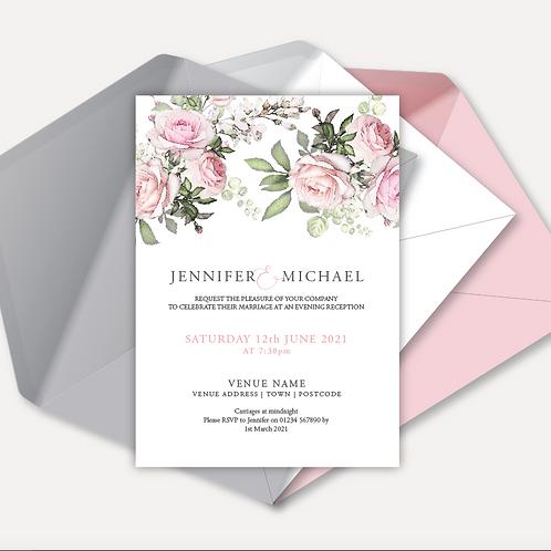 Pink Rose Evening Invitation