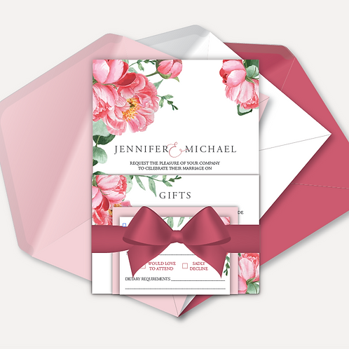 Pink Peony Day Invitation, RSVP, Info Card with Ribbon