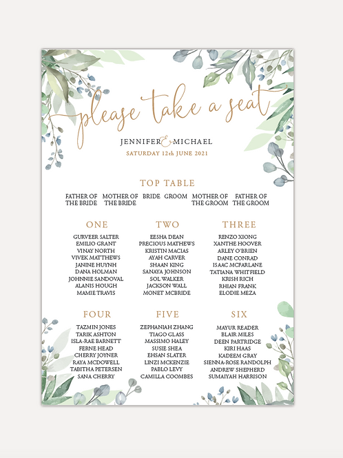 Sage Leaves Table Plan