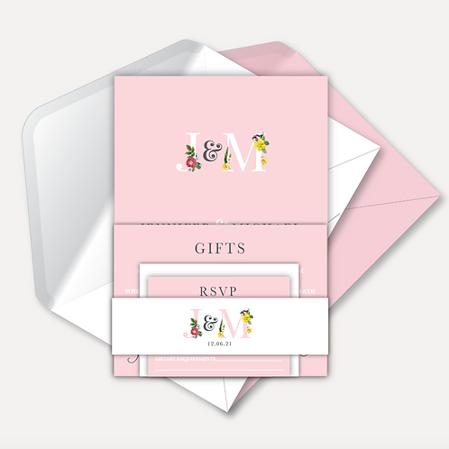 Floral Monogram Day Invitation, RSVP, Info Card & Belly Band