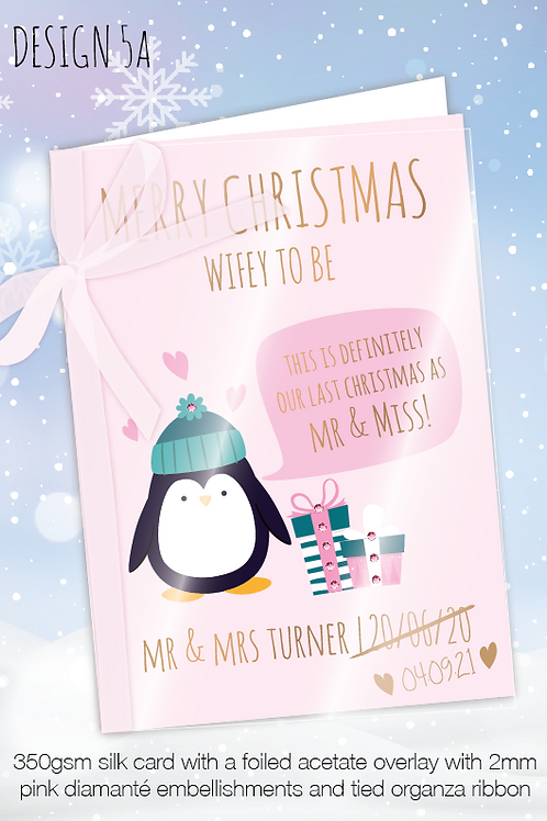 Personalised Christmas Card for Postponed Wedding - Design 5