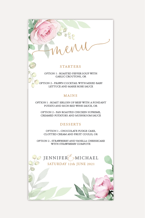 Sage & Pink Bloom Menu Cards