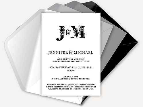 B&W Monogram Evening Invitation