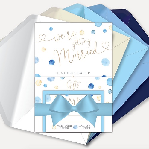 Watercolour Confetti Evening Invitation, RSVP, Information Card with Ribbon