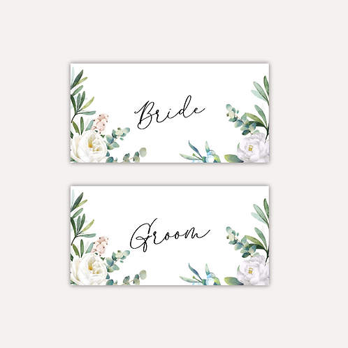 White Rose Place cards