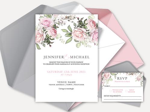 Pink Rose Evening Invitation & RSVP