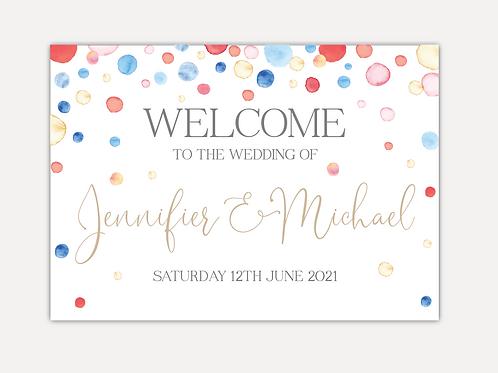 Watercolour Confetti Wedding Signs