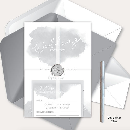 Watercolour Day Invitation, RSVP, Information Card, Full Vellum Wrap & Wax Seal