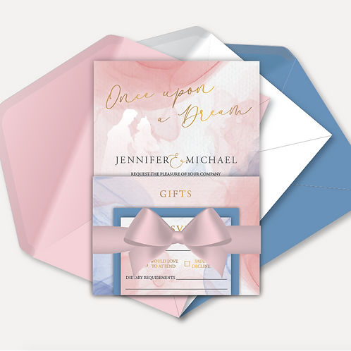 Disney Inspired Evening Invitation, RSVP, Info Card with Ribbon