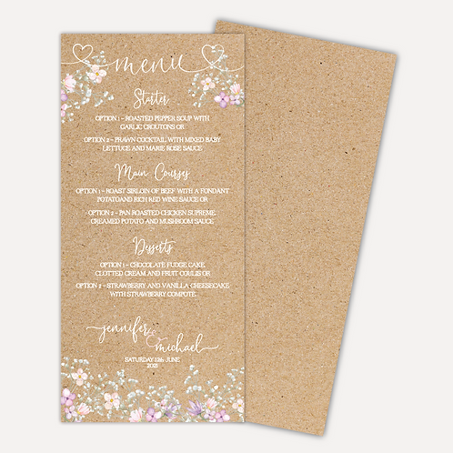 Rustic Bloom Menu Cards