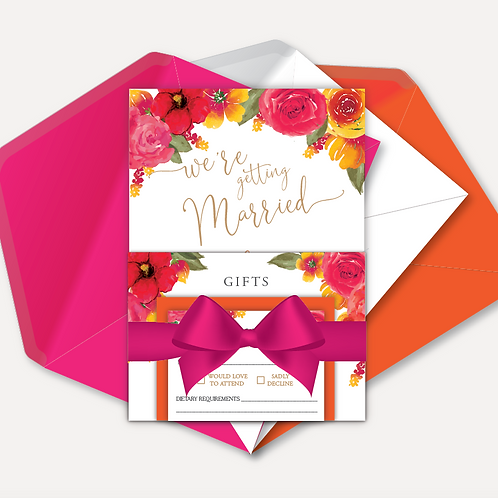 Pink & Orange Bloom Evening Invitation, RSVP, Info Card with Ribbon