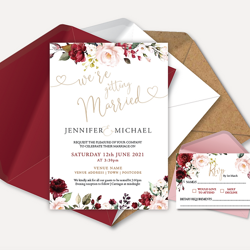 Red & Pink Rose Day Invitation & RSVP