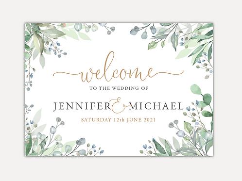 Sage Leaves Wedding Signs