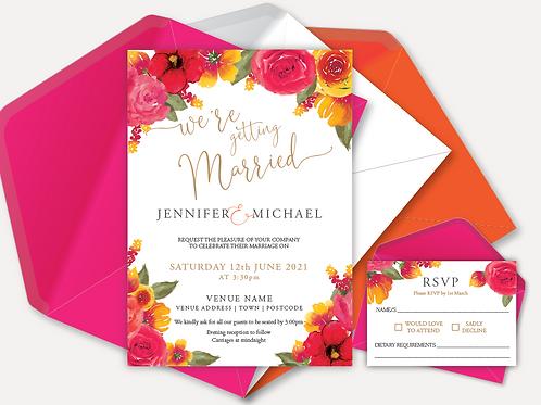 Pink & Orange Bloom Day Invitation & RSVP