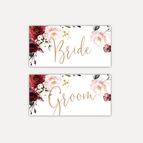 Red & Pink Rose Place cards