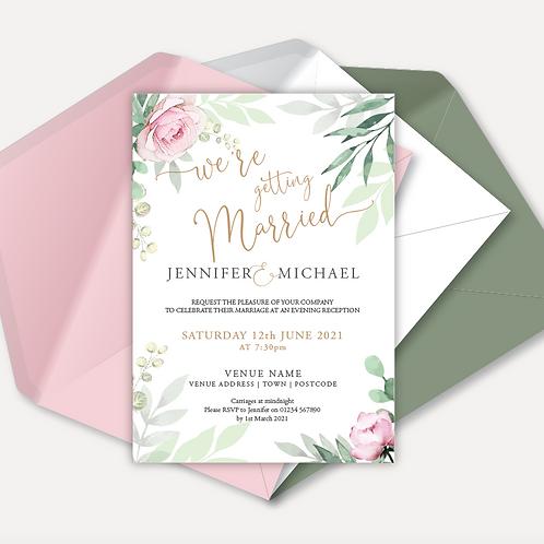 Sage & Pink Bloom Evening Invitation