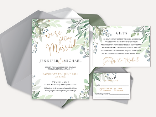 Sage Leaves Day Invitation, RSVP & Info Card