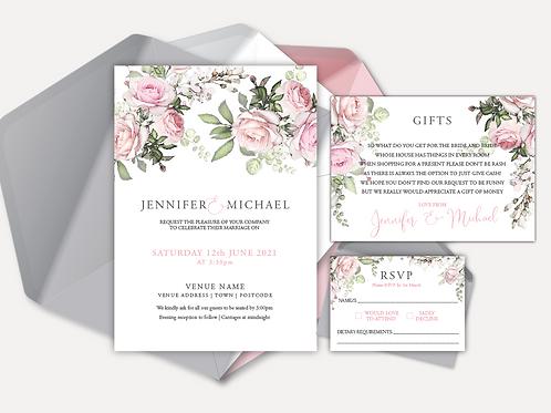 Pink Rose Day Invitation, RSVP & Info Card