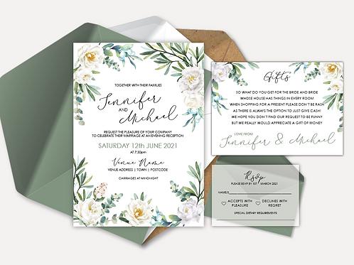 White Rose Evening Invitation, RSVP & Info Card