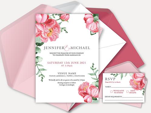 Pink Peony Day Invitation & RSVP