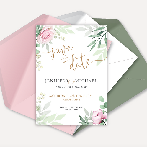 Sage & Pink Bloom Magnetic Save the Date