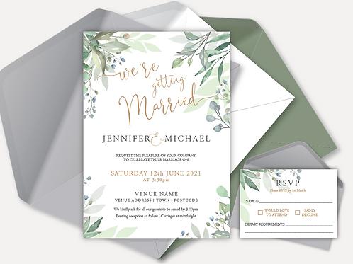 Sage Leaves Day Invitation & RSVP