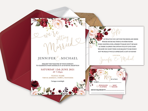 Red & Pink Rose Evening Invitation, RSVP & Info Card