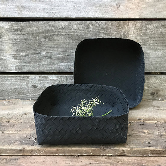 East of India | Woven square box - Black