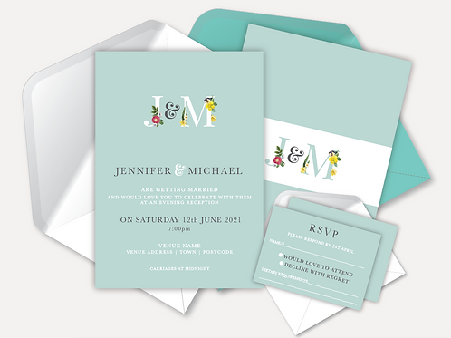 Modern Monogram Evening Invitation & RSVP