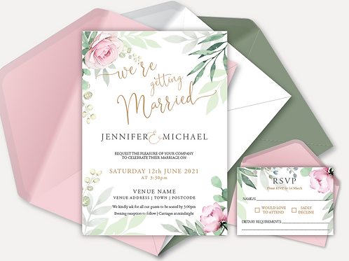 Sage & Pink Bloom Day Invitation & RSVP