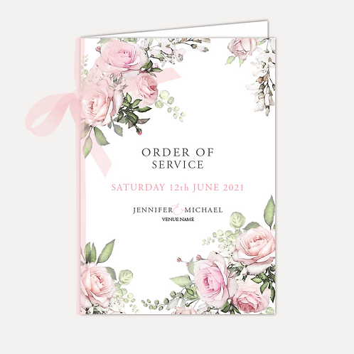 Pink Rose Order of Service