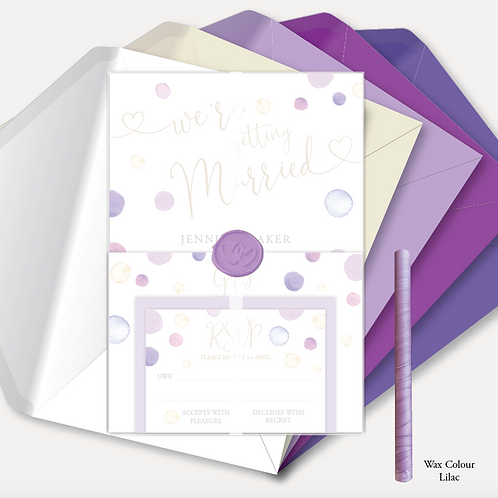 Watercolour Confetti Day Invitation, RSVP, Info Card, Vellum Wrap & Wax Seal