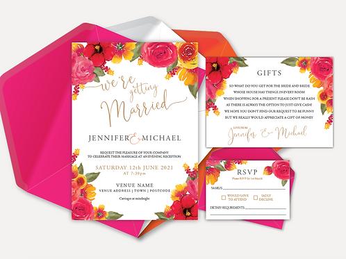 Pink & Orange Bloom Evening Invitation, RSVP & Info Card