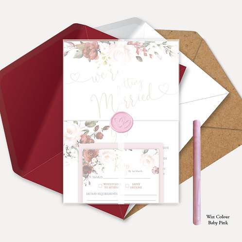 Red & Pink Rose Evening Invitation, RSVP, Info Card with Vellum & Wax Seal