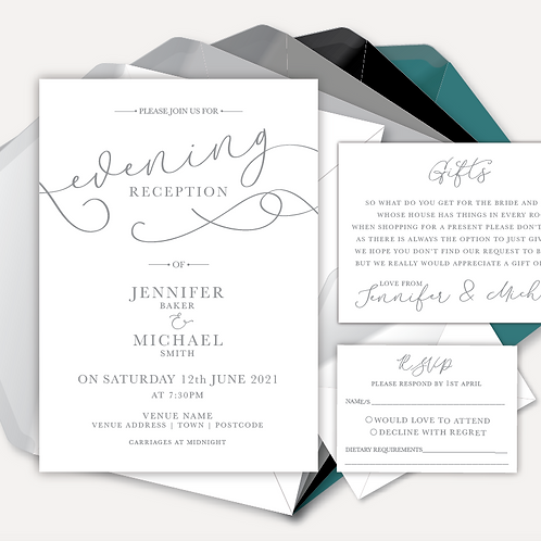 Simplicity Evening Invitation, RSVP & Information Card