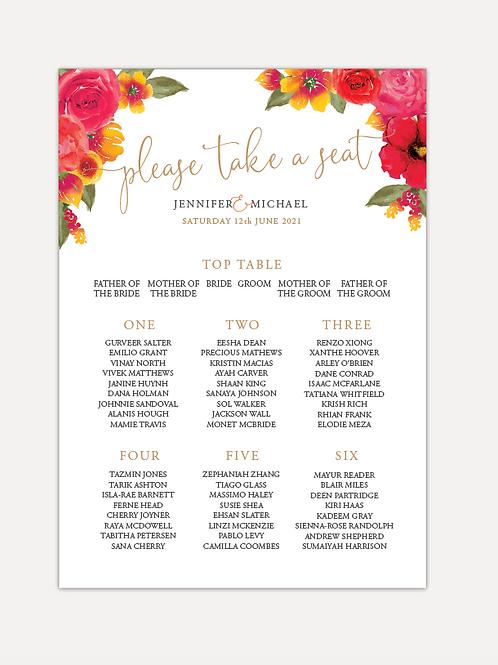 Pink & Orange Bloom Table Plan