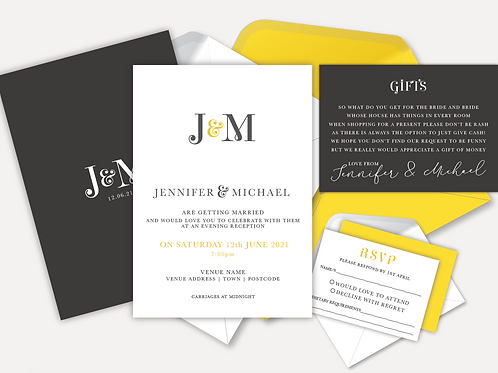 Modern Monogram Evening Invitation, RSVP & Info Card