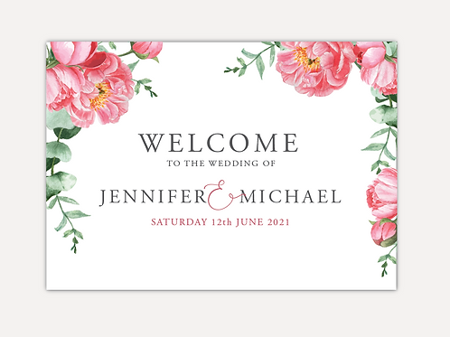 Pink Peony Wedding Signs
