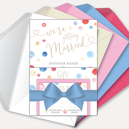 Watercolour Confetti Day Invitation, RSVP, Information Card with Ribbon