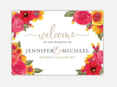 Pink & Orange Bloom Wedding Signs
