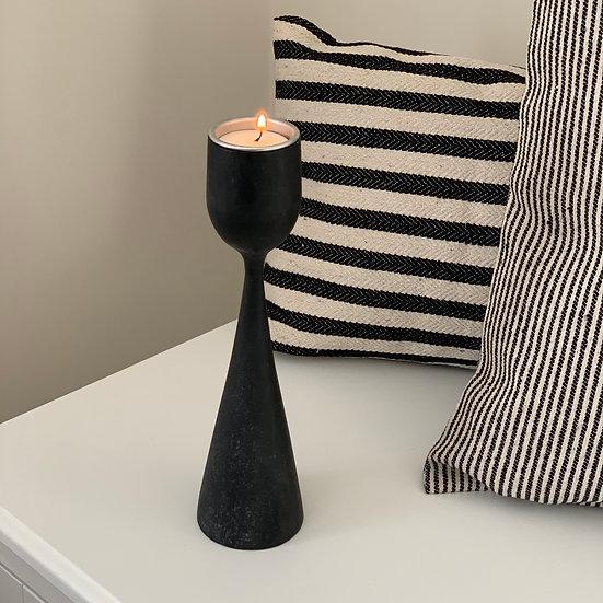 East of India   Black wood tea light holder medium