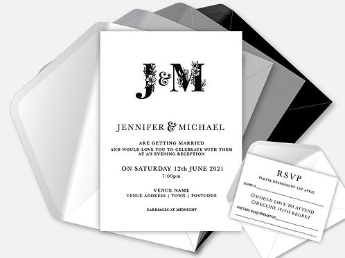 B&W Monogram Evening Invitation & RSVP